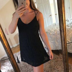 Black patterned spaghetti strap dress